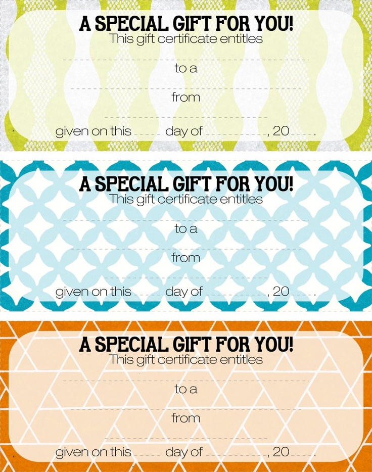 22 Best Gift Certificate Printables Images On Pinterest Hand Made
