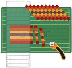 Patchwork: How to Do it Yourself. Cut strips of fabric sewn, reorganize into diagrams and drawings with transparent ruler, rotary cutter blade on the cutting mat, arts, crafts, sewing, quilting, applique, DIY projects. Stock Photo