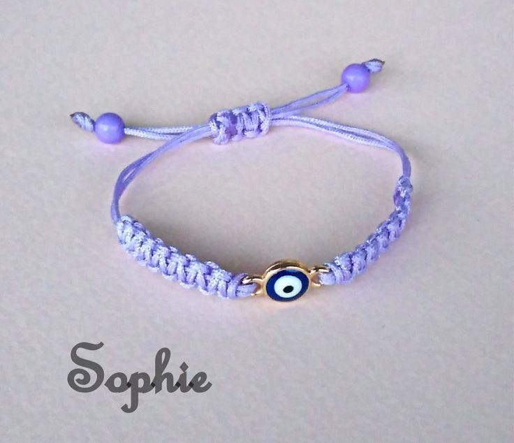 βραχιόλι λιλά μακραμέ με ματάκι #makrame #purple #evilieye #handmade #bracelet #girly  https://www.facebook.com/SophiesworldHandmade/