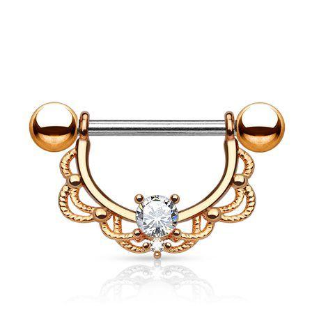 piercing téton acier elysa or rose et cz crystal