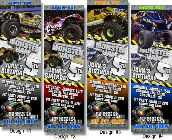 Monster Jam Truck Birthday Party Ticket Invitations and Favors