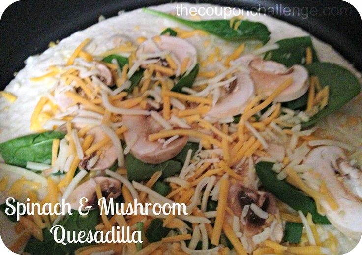 Spinach and Mushroom Quesadilla - do one with bacon and one without ...