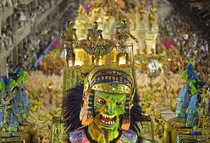 A fierce pharaoh adorns the Egyptian themed float paraded by the Imperatriz Leopoldinense dancers - Rio Carnival 2011
