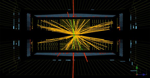 The mass of the Higgs boson particle, possibly uncovered at the Large Hadron Collider (LHC) in Geneva, may mean doom for our universe. Here, proton-proton collisions at the LHC showing events consistent with the Higgs.