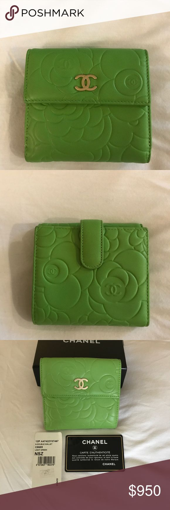 Chanel Camellia Green Bifold Wallet - VERY RARE!! Extremely Rare Chanel Camellia Green Bifold Wallet - Brand new, never used, and made of super soft lambskin leather. Comes with Chanel box and Chanel Authenticity Card. Chanel authenticity label reads 16122686. CHANEL Bags Wallets