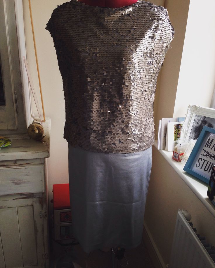 Sequin top & faux leather pencil skirt NYE 2015