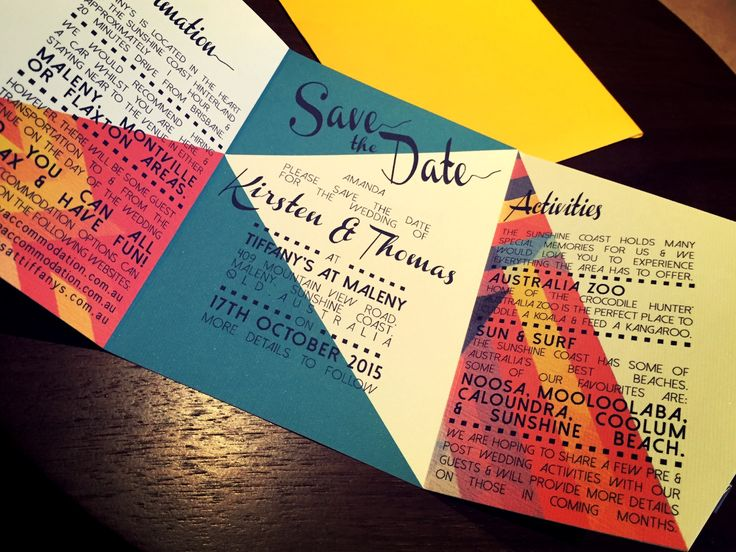 Folded geometric colour Save the Date card. Go to www.lovemytype.com