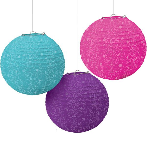 Brighten up your princess� birthday party room with the Disney Princess Lanterns! The decorative paper lantern ornaments feature a wire frame that pops open to reveal a round lantern adorned in pink, purple, and blue that is delightfully embellished with a fanciful scroll design. Hang them indoors or out with some low watt light strings to make any princess party glow! Lanterns measure 9.5 inches in diameter and are sold 3 per package.