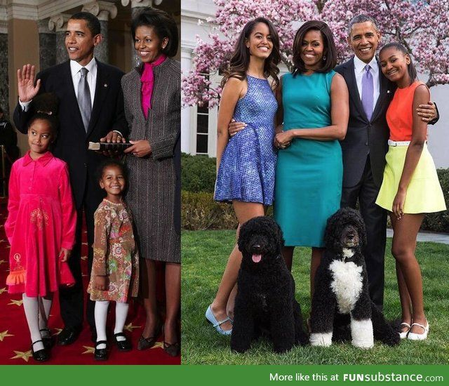 Time flies: The Obama family from senator to President.