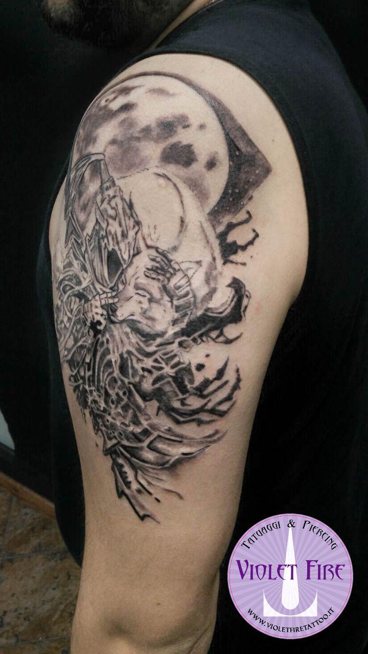 Tatuaggio Dark Souls, Tatuaggio Artorias e Sif - tatuaggio su braccio - Artorias And Sif Tattoo, Dark Souls Tattoo - tatuaggio artistico, tatuaggio personaggi, Tatuaggio animali, tatuaggio fantasy, tatuaggio luna, tatuaggio lupo - Violet Fire Tattoo - tatuaggi maranello, tatuaggi modena, tatuaggi sassuolo, tatuaggi fiorano - Adam Raia