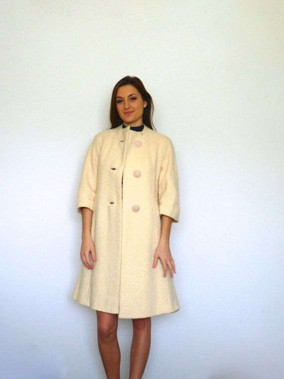 60s Cream Nubby Boucle A-Line Princess Car Coat by VoyageurVintage