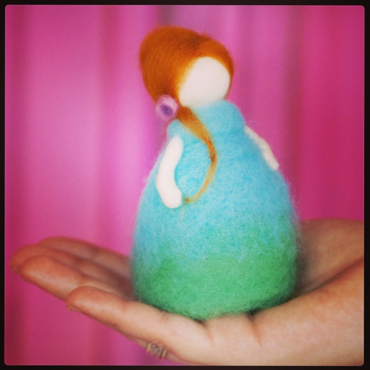 Needle felted standing doll, handmade by Tal Dvash   #felting
