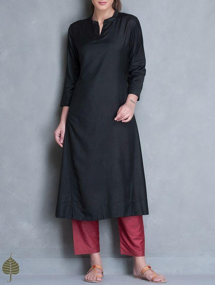 Buy Black Silk Cotton Kurta by Jaypore Apparel Tunics & Kurtas Online at Jaypore.com
