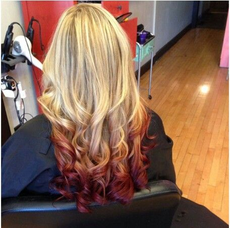 Blonde to red ombre