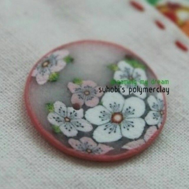 Cherry Blossoms polymerclay button