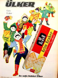 Ülker krim kraker (cream crackers) 1972 vintage ad.