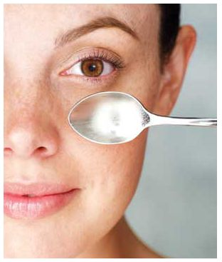 Tip for Puffy Eyes: Place two metal spoons in the freezer or in a cup of ice. Place the backside of the spoons over your eyelids for about 6-8 minutes. Viola!