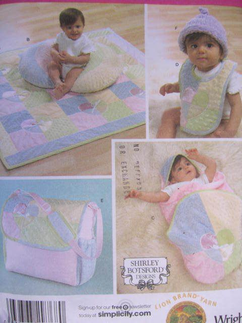 See Sally Sew-Patterns For Less - Baby Accessories Bib Bag Quilt Hat   More Shirley Botsford Design Simplicity 4202 Craft Pattern, $8.00 (http://stores.seesallysew.com/baby-accessories-bib-bag-quilt-hat-more-shirley-botsford-design-simplicity-4202-craft-pattern/)