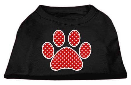 Mirage Pet Products Red Swiss Dot Paw Screen Print Shirt Black Med (12)   : Cats Apparel