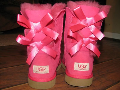 Authentic UGGS GIRLS BAILEY BOW CERISE HOT PINK UGG BOOTS KIDS 4 fits Woman 5-