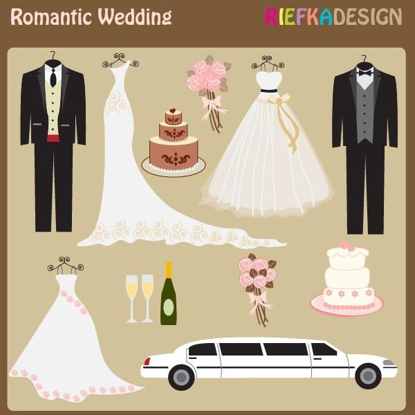 Romantic Wedding Clipart Set. $5.00, via Etsy.