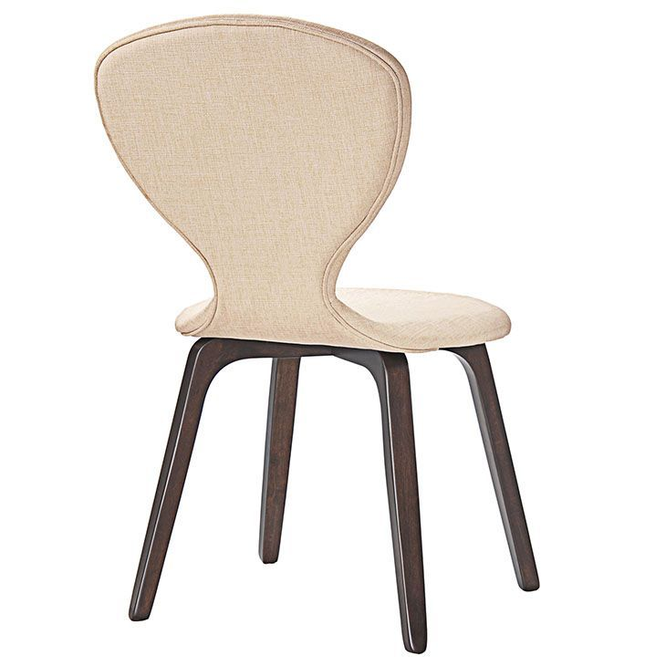 Tempest Dining Side Chair Set of 2 in Walnut Beige, Walnut Beige - Sure up your meals with the Tempest Vintage Modern Wood Dining Chair. Made of solid walnut stained rubberwood, and a linen upholstered foam back and seat, let style run rampant with this elegantly emboldened piece. With its curved design that imparts a gentle sense of expansiveness, LexMod Tempest is perfect for vintage modern, contemporary, urban, ranch, and transitional decors. Set Includes: Two - Tempest Dining Side Chair…
