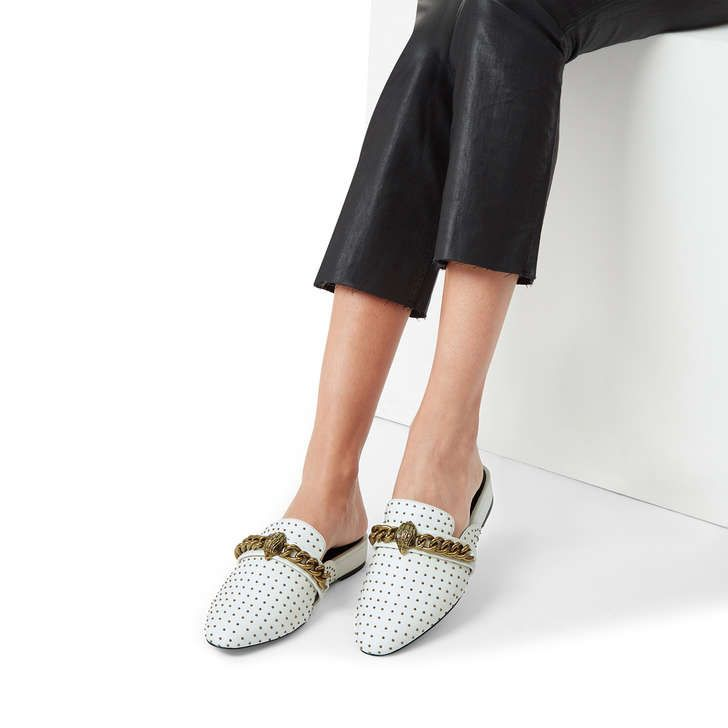 Chelsea Mule White Studded Backless
