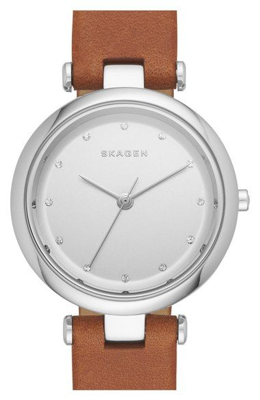 Skagen 'Tanja' Leather Strap Watch, 30mm available at #Nordstrom