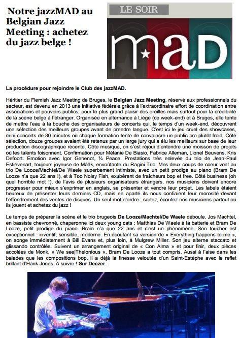 De Looze / Machtel / De Waele – Le Soir MAD ( Belgian Jazz Meeting )