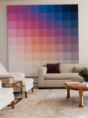 Magnifique réalisation - ces carrés de couleurs dégradés, un peu façon Vasarely, j'adore ! #Wall Art #color wall #color squares