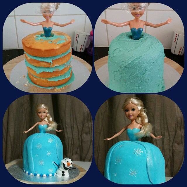 My attempt at an elsa cake, I couldn't get my hands on a elsa barbie so I went the next best thing..