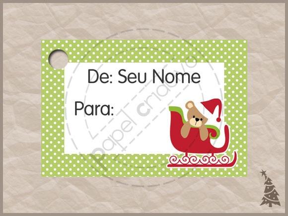 MODELO URSO TRENÓ  tag personalizado para ser colocado em presentes de Natal. tamanho: 4,5 x 3,0cm impressão inkjet em papel branco 180gr  *envio amostra para aprovação por e-mail após confirmação de pagamento.  PEDIDO MÍNIMO - 30 unidades R$0,50