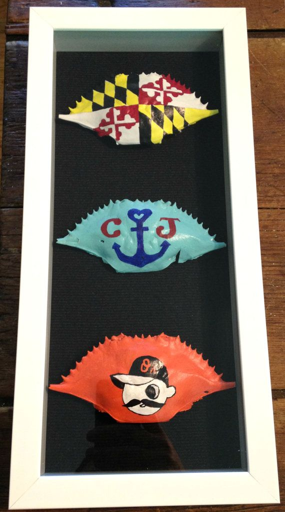 Hand Painted Custom Personalized Crab Shell Frames by crabframes