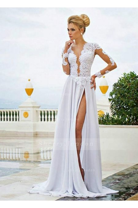 CHARMING LONG SLEEVE SPLIT FRONT LACE CHIFFON WHITE PROM DRESS