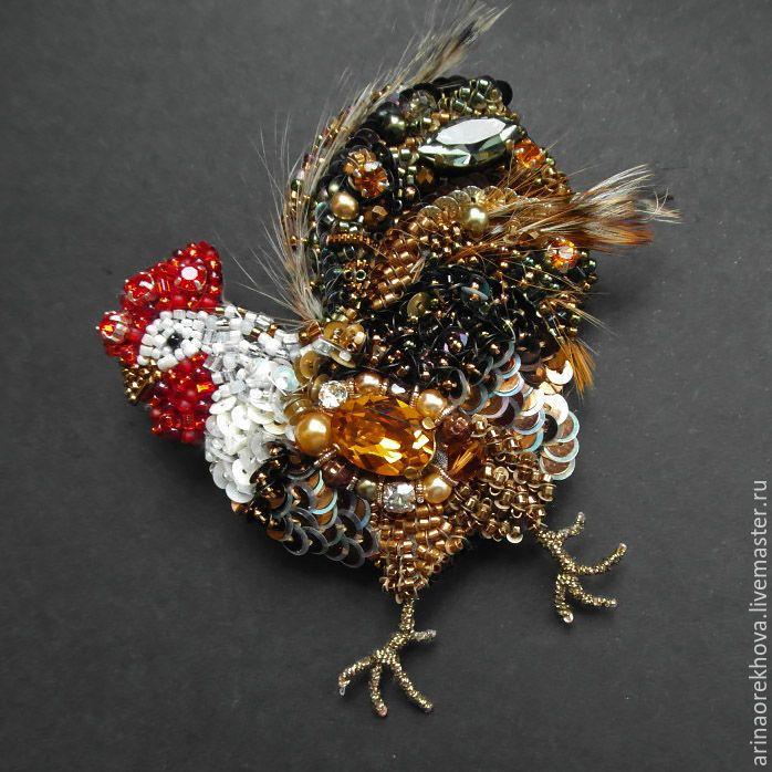 """Купить Брошь """"Петушок"""" - комбинированный, брошь, брошь птица, петух, петушок, брошь из бисера"""