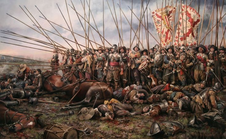 "Scene of the Battle of Rocroi (1643), end of the spanish hegemony in Europe, dominated until then by his fearsome infantry, the ""Tercios""."