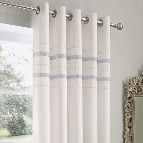 Available In A Choice Of Drops These White Eyelet Curtains Feature Two Strips Of Silver