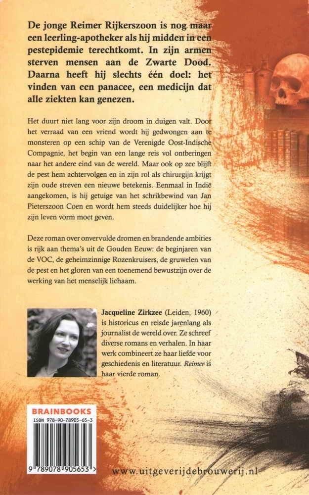Achterkant van de roman Reimer (2013), auteur Jacqueline Zirkzee, uitgeverij de Brouwerij | Brain books