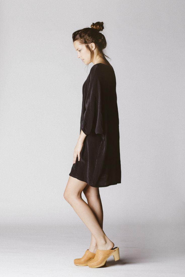 soft black dress & swedish hasbeens clogs
