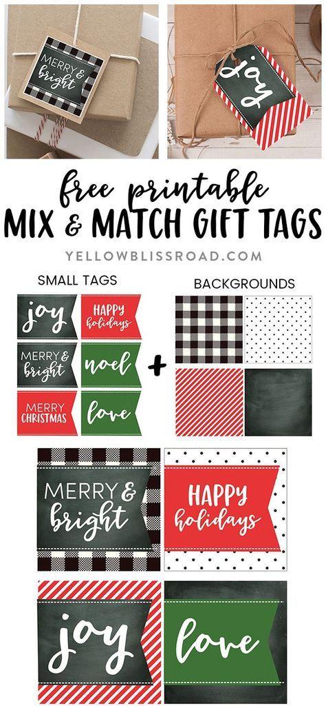 Printable #Christmas gift tags with mix & match sizes and colors |Free Christmas Printable