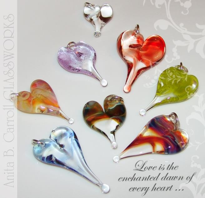 Glass Hearts ... ❤ making these! Glass works by Anita B. Carroll  ♥ Facebook: Alvelys ♥ In store: #The #Garden #Party, Milford NH - US ♥  #Glass #Hearts #Alvelys #Anita #Carroll