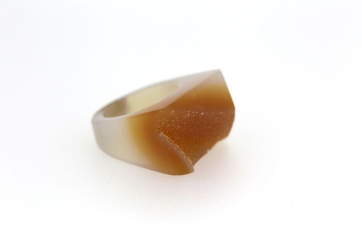 Solid Agate & Quartz Ring