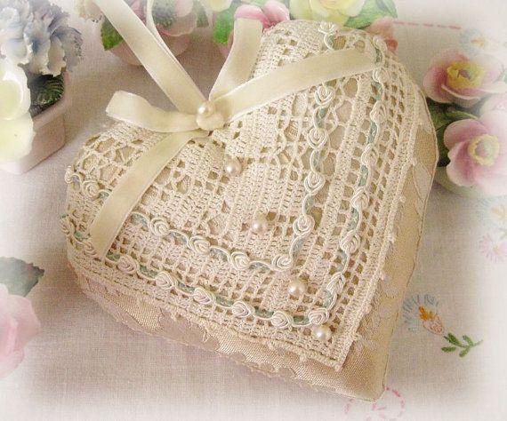 Heart Pillow 6 X 6 Door Hanger, Neutral/Ivory Damask, Decor, Fancy Trim, Cloth Handmade CharlotteStyle Decorative Folk Art