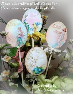 """Pretty plant pokes by Vicki Chrisman made with Crafty Secrets Printable Victorian Floral Easter Eggs double Sheets. Just insert a bamboo skewer, chopstick or branch between the front and back side of the eggs. 18 Eggs total and the 8 large eggs are 4.5"""" at 300 dpi"""