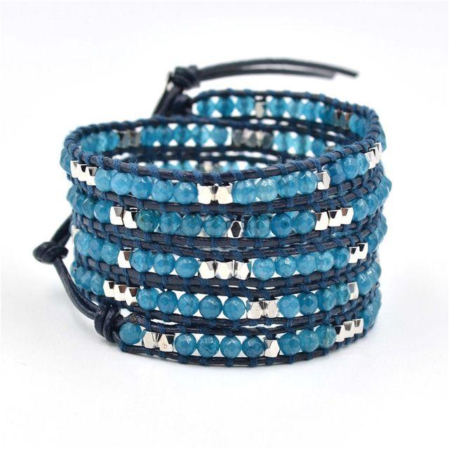 Перевозка Груза падения новая мода из бисера браслеты ювелирные изделия 4 мм синий каменные и медные бусины ручной работы кожаный браслет и браслеты для мужчины