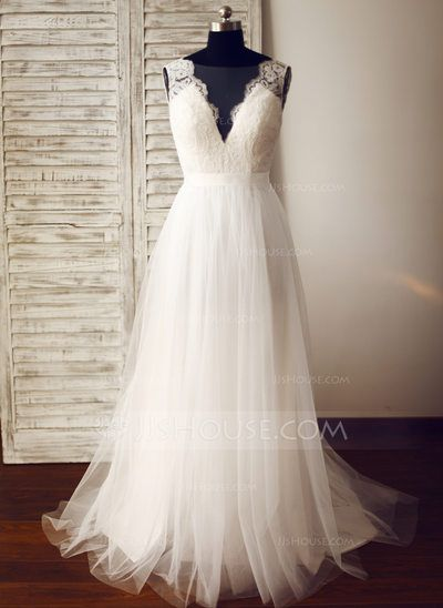 A-Line/Princess V-neck Sweep Train Tulle Wedding Dress (002104625)