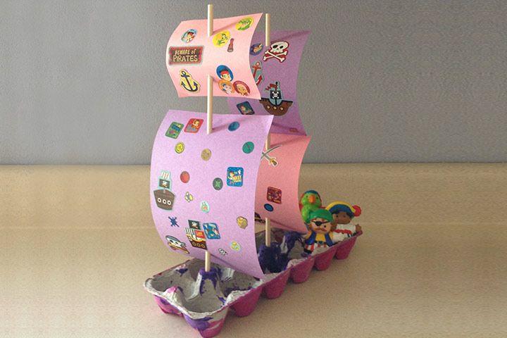 Egg Carton Crafts Egg Carton Pirate Ship