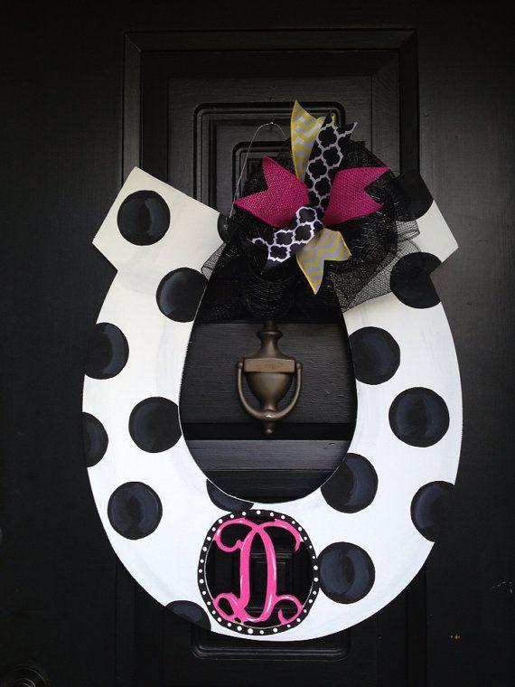 Monogram horseshoe door hanger/wreath by shutthefrontdoor2 on Etsy