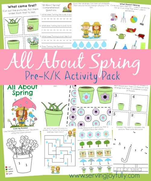 Free Spring Themed Printables Pack for Pre-k/K ages