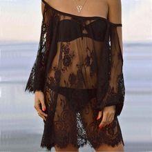 Плюс размер женщины пляж платье vestido де феста черное Кружево платье женские…